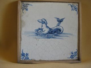 17th C Dutch Delft Tile With A Half Dog And Half Fish photo
