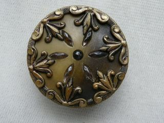 Larg Late 1800 ' S Antique Celluloid & Metal Trimmed Button photo