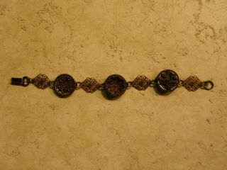 Antique Victorian Button Bracelet Stamped Brass Picture Hand Crafted 7 1/2