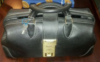 Vintage Awesome Cida Heavy Duty Leather Doctor Bag Black With 2 Keys photo