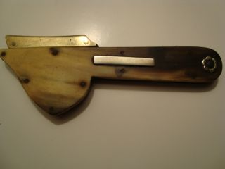 Antique Horn & Brass Fleam,  Silver Inlay,  Panel Approx 10 Cms Long Unopened photo