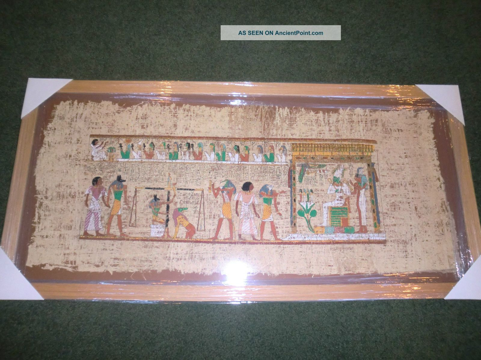 Huge Framed Antique Hand Painted Egyptian Papyrus  37x18