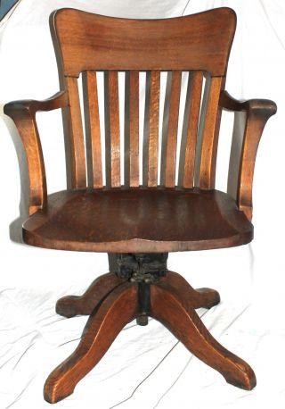 Vtg Early 1900 ' S Milwaukee Chair Wooden Industrial Office Desk Chair Cast Iron photo