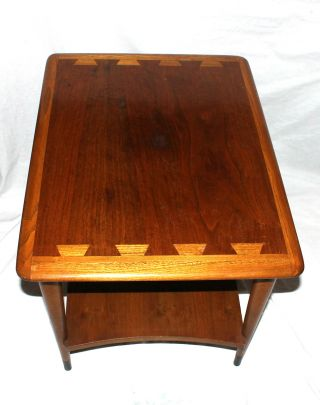 Vtg Lane Mid Century Modern Acclaim Dovetailed Inlaid Top Lamp End Table photo