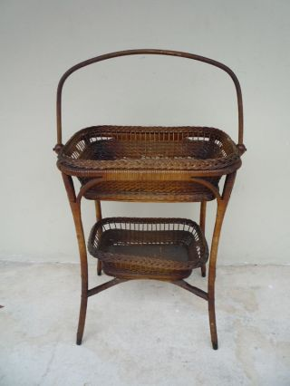 Fine19c Victorian Handwoven Wicker Sewing Basket Table photo