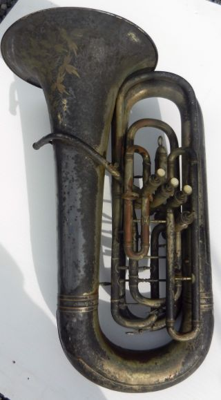 Antique Four Valve Tuba / Baritone C C Conn Elkhart Horn photo