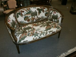 Charming Vintage French Crewel Upholstery Settee photo