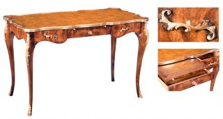 Ladies Louis Iv French Desk Leather Top Solid Walnut Celejeria Overlay New Frshp photo
