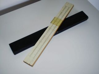 Antique Vtg Albert Nestler Nº 5 Wood Slide Rule W/case photo