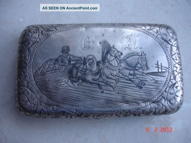 1893 Fine Russian 84 Silver Rectangular Cigarette Case Moscow - 71gr Russia photo