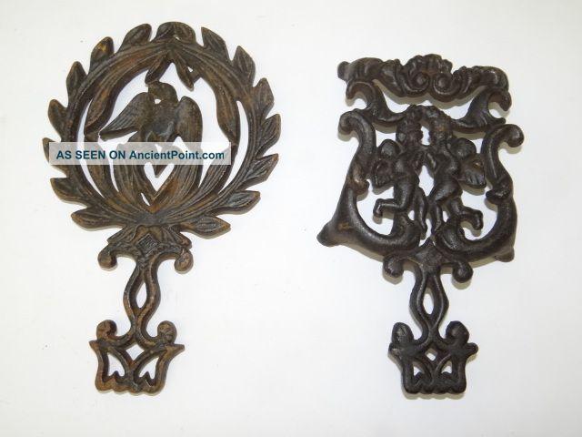 2 Antique Old Metal Cast Iron 249 D T - 13 Eagle Decorative Cherub Angel Trivets Trivets photo