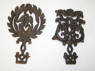2 Antique Old Metal Cast Iron 249 D T - 13 Eagle Decorative Cherub Angel Trivets photo