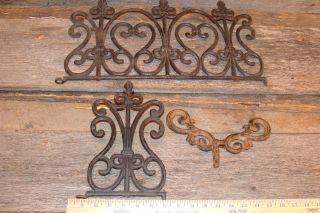 3 Vintage Cast Iron Deco Pieces,  Garden,  Hearts Pattern,  Art,  Rustic Bird Feeder photo