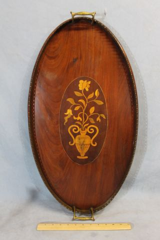 Lrg Antique C1900 English Inlaid Mahogany Serving Tray,  Vase Of Flowers photo