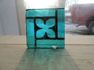 Painted And Fired Antique Stained Glass Square Turquoise Wi/black Flower Design photo
