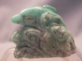 Chinese Hardstone (jadeite?) Carving Of Dolphin In Waves With Glass Eyes 20thc photo
