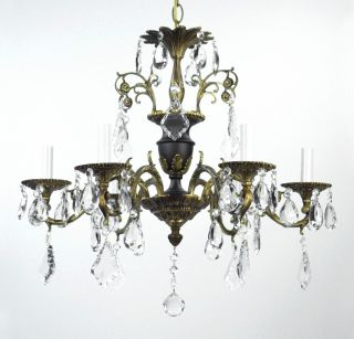 Antique Bronze Chandelier Crystal Vintage Tole Black Gold Gilded French Empire photo