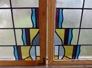 Antique Stained Glass Windows Transom Pair Leaded Vintage Art Deco Geometric photo