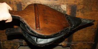 Antique Primitive Wood & Leather Fireplace Bellows Very Good Working Condition photo