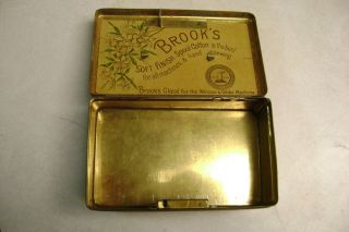 Antique Vintage Brook ' S Tin Metal Box Spool Cotton For Sewing Machines Ahd Hand photo