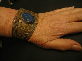A Silver Braclet Turkman Or Afghan With A Lapis Stone photo
