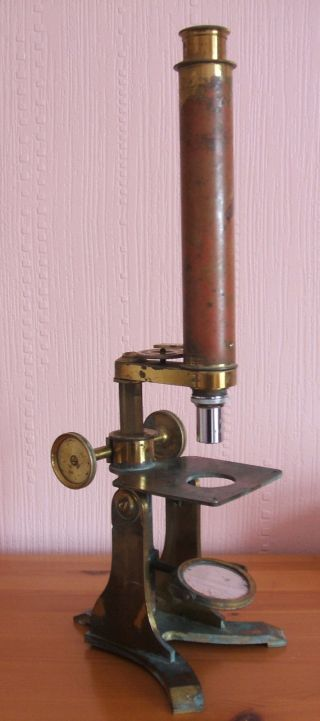 C Baker Monocular Laquered Brass Microscope In Fitted Mahogany Case Late 19th C photo