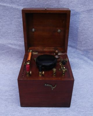 An Antique Mahogany Cased Early 20thc Cat ' S Whisker Crystal Radio Set photo