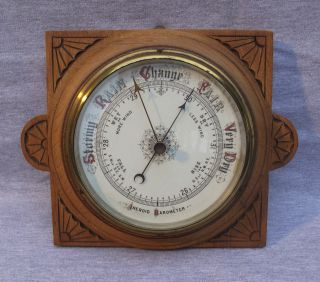 A Large Antique Carved Oak Aneroid Barometer - 19thc photo