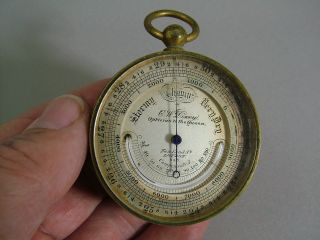 A Fine 19th C.  Pocket Barometer / Thermometer,  By C.  W.  Dixey,  London. photo