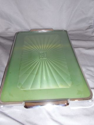 Art Deco Faux Enamel Bar Tray Reversible & Chrome Plated 1930s photo
