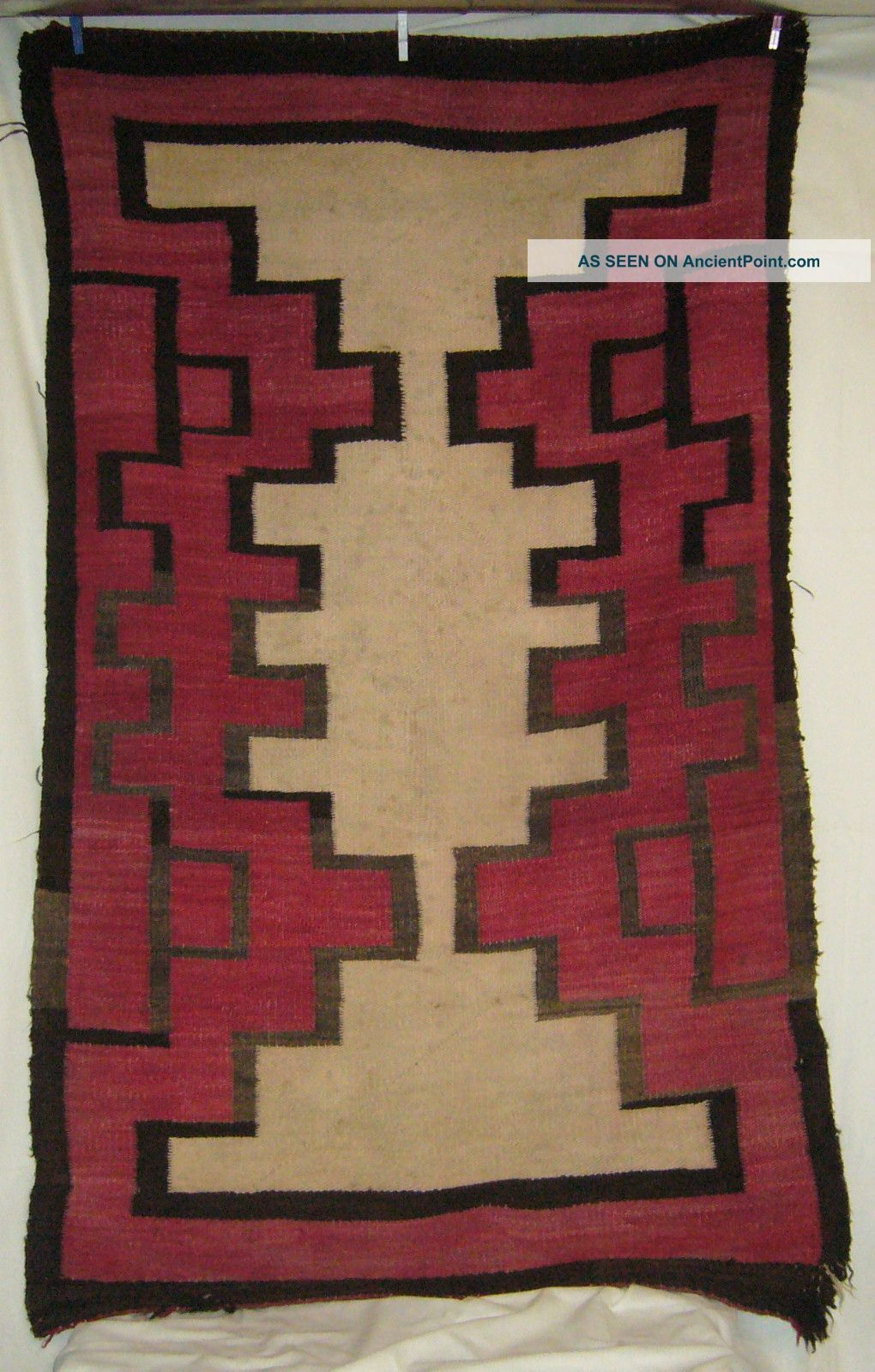 Antique C1885 - 1910 Navajo Red Black Brown & Neutral Tone Geometric Weaving Rug Native American photo