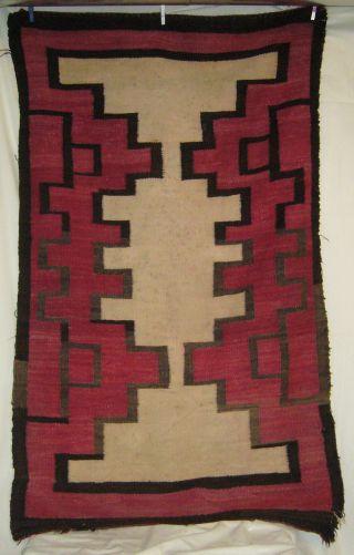 Antique C1885 - 1910 Navajo Red Black Brown & Neutral Tone Geometric Weaving Rug photo