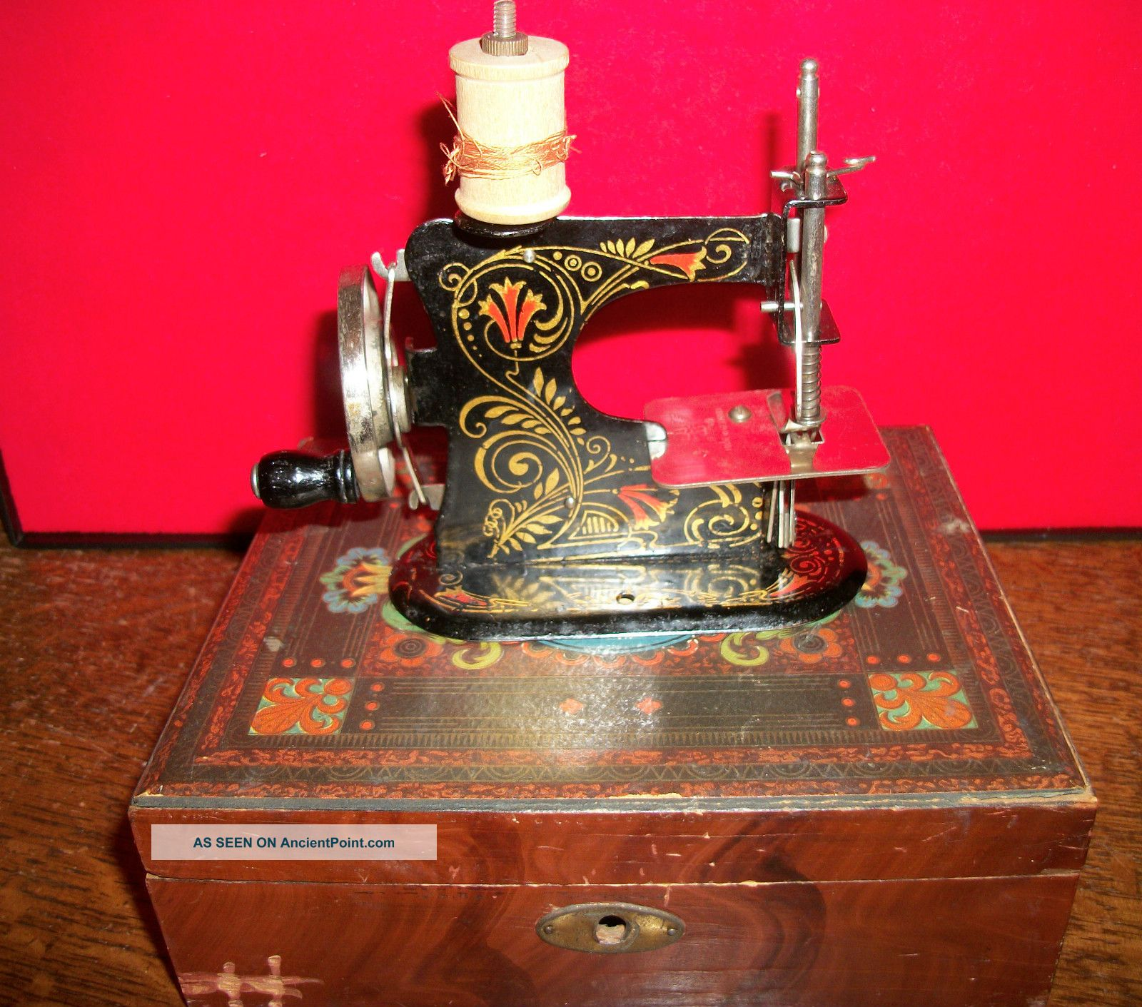 Rare Antique German Toy Sewing Machine In Victorian Era Box Sewing Machines photo
