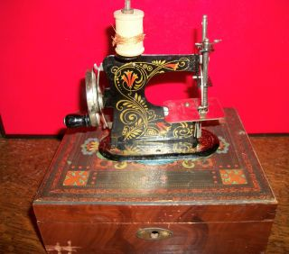 Rare Antique German Toy Sewing Machine In Victorian Era Box photo