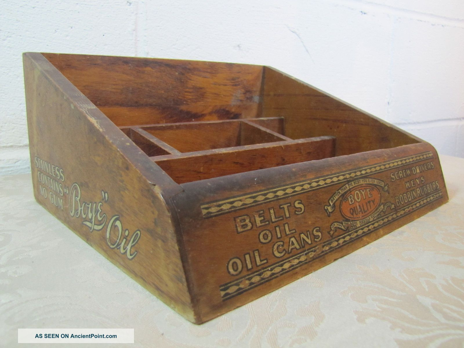 Antique Boye Needle Company Products Country Store Display Cabinet Box - Rare Needles & Cases photo