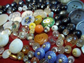 151 Buttons Lots Vintage Rhinestone New Glass Antique Czech Metal Victorian Sew photo