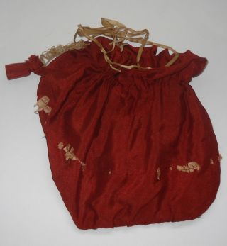 Antique Vintage Girl ' S Sewing Holder Kit Drawstring Bag Russet Spools photo