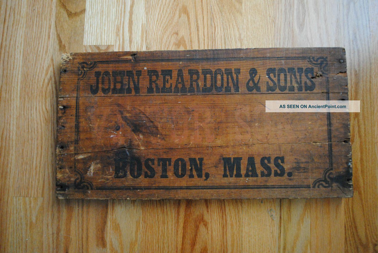 1800 ' S Antique Sign,  Primitive Wooden Trade Sign,  John Reardon Victor Soap Sign Other photo
