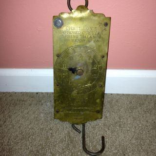 Antique Iron Brass Face Chatillons New York Spring Balance Hanging Milk Scale 30 photo