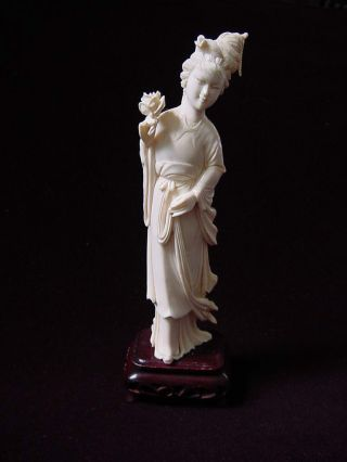 20th.  Century Chinese Carved Ox Bone Lady Sculpture W/ Wood Base. photo