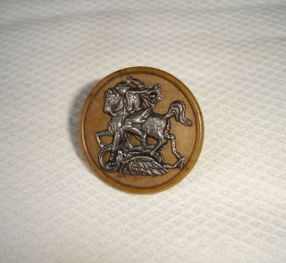 Rare Old Picture Button - George And The Dragon On Wooden Base photo