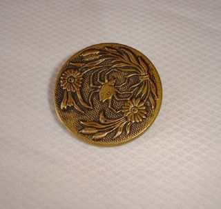 Rare Large Old Brass Picture Button With A Spider photo