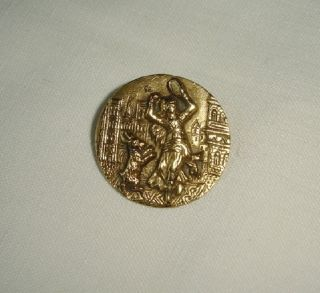 Great Antique Picture Button With Esmeralda And Her Dancing Goat photo