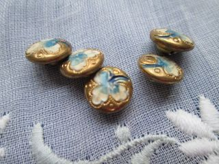 Antique/ Vintage Buttons From Copper And Enamel For Dolls photo