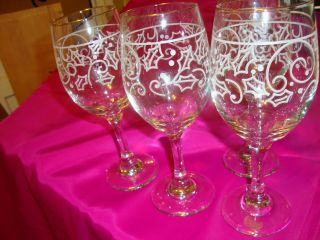 Stemware Libbey Christmas 4 To The Set 8 - 1/4