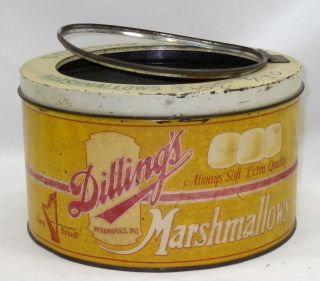 Antique Large Store Display Tin Angelus Marshmallows Harp Brand Indianapolis Ind photo