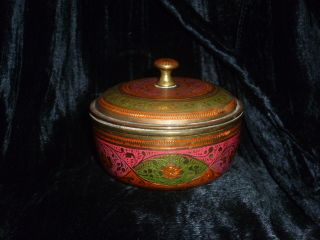 Fine Old Indian Round Brass Tobacco Bowl With Lid - Hand Painted photo