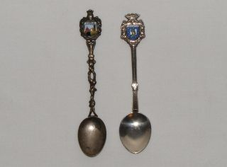 2 Vintage Sterling Silver & Enamel Souvenir Spoons Madrid Firenze photo