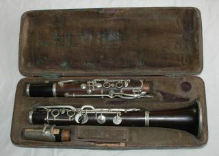 Antique Clarinet Case With Franken - Horn photo