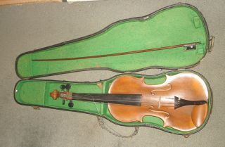 Vintage / Antique German Violin & Case No Makers Name Help Identify The Insignia photo